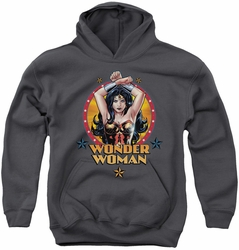 Justice League of America youth teen hoodie Powerful Woman charcoal