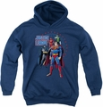 Justice League of America youth teen hoodie Protectors navy