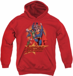 Justice League of America youth teen hoodie Raise Your Fist red
