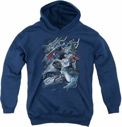 Justice League of America youth teen hoodie Ride The Lightening navy