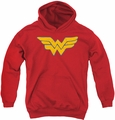 Justice League of America youth teen hoodie Rough Wonder Woman red