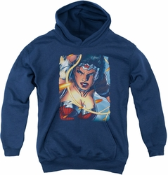 Justice League of America youth teen hoodie Scowl navy