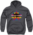 Justice League of America youth teen hoodie Stand Tall charcoal