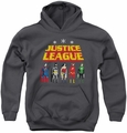 Justice League of America youth teen hoodie Standing Below charcoal