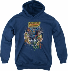 Justice League of America youth teen hoodie Star Group navy