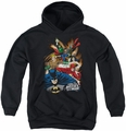 Justice League of America youth teen hoodie Starburst black