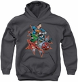 Justice League of America youth teen hoodie Starburst charcoal