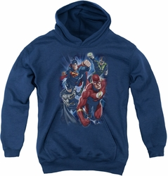 Justice League of America youth teen hoodie Storm Chasers navy