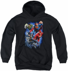 Justice League of America youth teen hoodie Storm Makers black