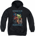 Justice League of America youth teen hoodie Strength In Number black
