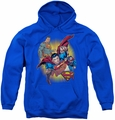 Justice League of America youth teen hoodie Superman Collage royal blue