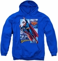 Justice League of America youth teen hoodie Superman Panels royal blue
