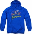 Justice League of America youth teen hoodie Superman Rough Distress royal blue