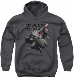 Justice League of America youth teen hoodie Tag Team charcoal