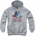 Justice League of America youth teen hoodie Team Power athletic heather