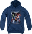 Justice League of America youth teen hoodie The Coming Storm navy
