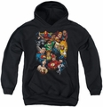 Justice League of America youth teen hoodie The League's All Here black