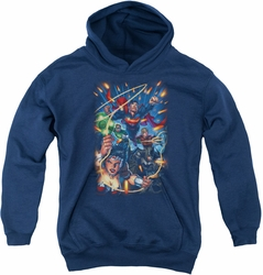 Justice League of America youth teen hoodie Under Attack navy