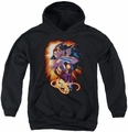 Justice League of America youth teen hoodie Wonder Rays black