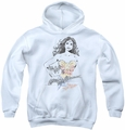 Justice League of America youth teen hoodie Wonder Squiggles white