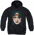 Justice League of America youth teen hoodie Wonder Woman Head black