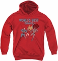 Justice League of America youth teen hoodie Worlds Best red