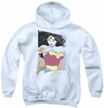 Justice League of America youth teen hoodie Ww 80s Minimal white
