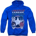DC Comics pull-over hoodie 4 Stars adult royal blue