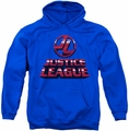 Justice League pull-over hoodie 8 Bit JLA adult royal blue
