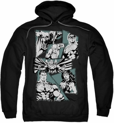 Justice League pull-over hoodie A Mighty League adult black