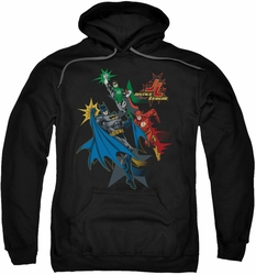 Justice League pull-over hoodie Action Stars adult black