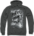 Justice League pull-over hoodie Atmospheric adult charcoal