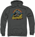 Justice League pull-over hoodie Batman Rough Distress adult charcoal