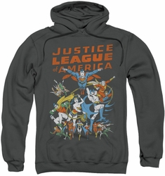 Justice League pull-over hoodie Big Group adult charcoal