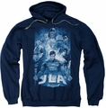 Justice League pull-over hoodie Burst adult navy