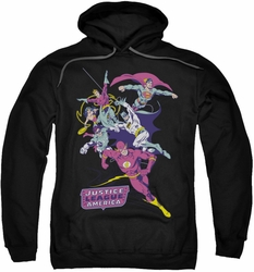 Justice League pull-over hoodie Colorful League adult black