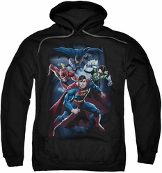 Justice League pull-over hoodie Cosmic Crew adult black
