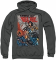 Justice League pull-over hoodie Crime Syndicate adult charcoal
