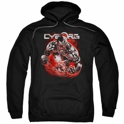 Justice League pull-over hoodie Cyborg Engaged adult Black