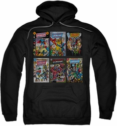 Justice League pull-over hoodie DC Comic Covers adult black
