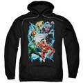Justice League pull-over hoodie Electric Team adult black