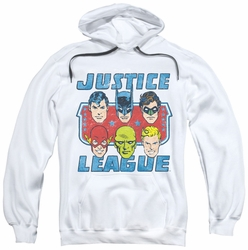 Justice League pull-over hoodie Faces Of Justice adult white