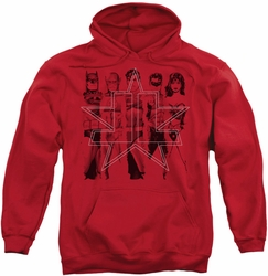 Justice League pull-over hoodie JLA Five Stars adult red