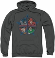Justice League pull-over hoodie Four Heroes adult charcoal
