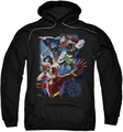 Justice League pull-over hoodie Galactic Attack Color adult black