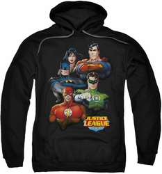Justice League pull-over hoodie Group Portrait adult black