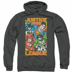 Justice League pull-over hoodie Hero Mashup adult charcoal