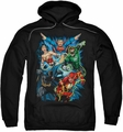 Justice League pull-over hoodie JL Assemble adult black