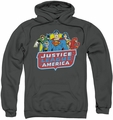 Justice League pull-over hoodie JLA 8 Bit League adult charcoal
