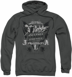 Justice League pull-over hoodie JLA Greatest Heroes adult charcoal